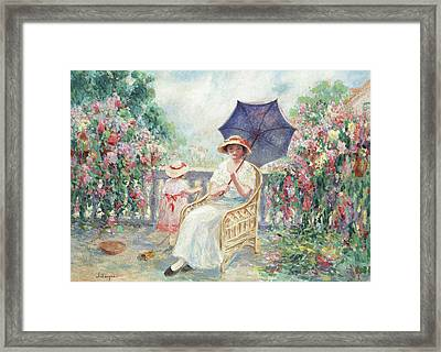 Young Girl And Child On A Terrace Framed Print