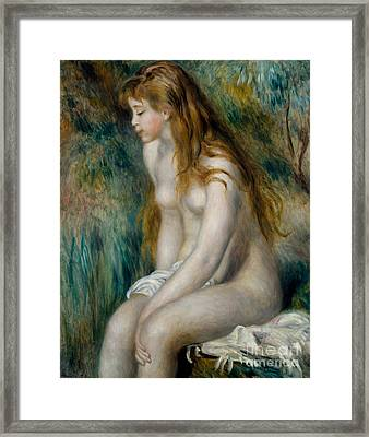 Young Girl Bathing, 1892 Framed Print by Pierre Auguste Renoir