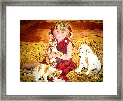 Young Girl In A Barn Framed Print