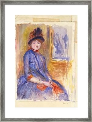Young Girl In A Blue Dress Framed Print