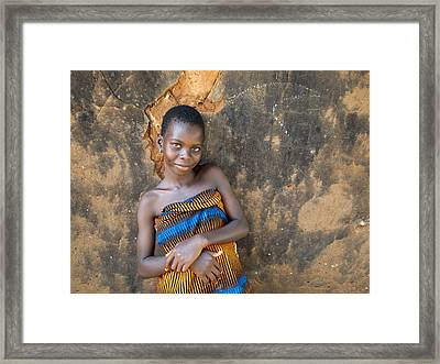 Young Girl In A Togo Village  Framed Print