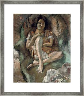 Young Girl In An Armchair Framed Print by Jules Pascin
