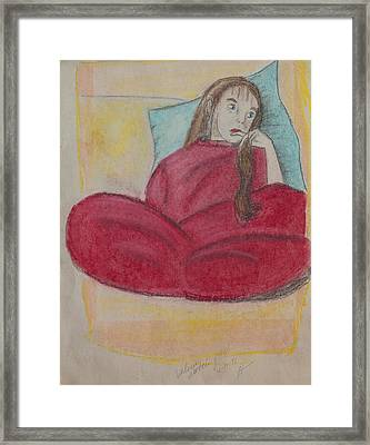 Young Girl In Deep Thought Framed Print by Sierra Logan