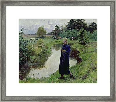 Young Girl In The Fields Framed Print