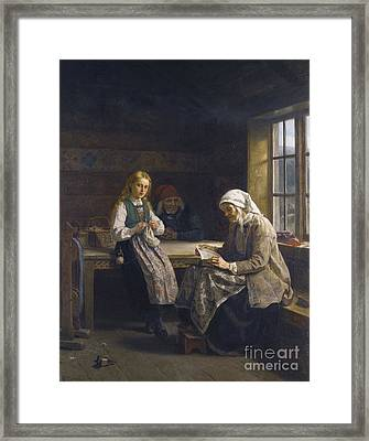 Young Girl Knitting Framed Print by Celestial Images