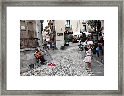 Young Girl Listening To Guitar - Grenada - Spain Framed Print