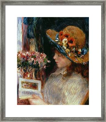 Young Girl Reading Framed Print by Pierre Auguste Renoir