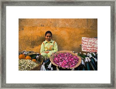 Young Girl Selling Rose Petals In The Medina Of Fes Morroco Framed Print by David Smith
