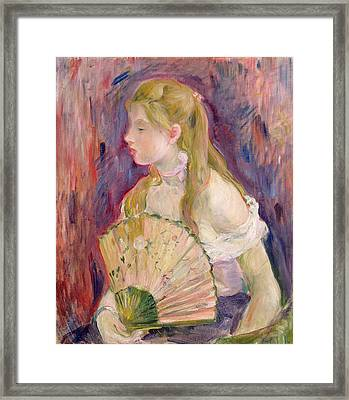 Young Girl With A Fan Framed Print