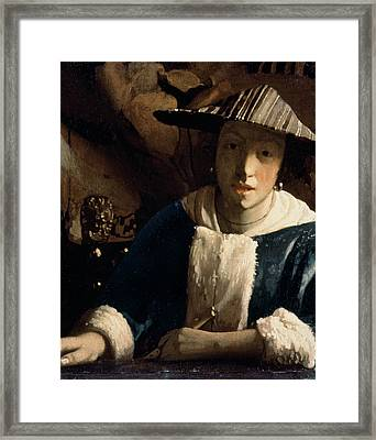 Young Girl With A Flute Framed Print by Jan Vermeer