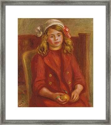 Young Girl With An Orange Framed Print by Pierre Auguste Renoir