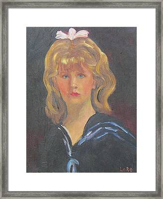 Young Girl With Bow Framed Print by Lore Rossi