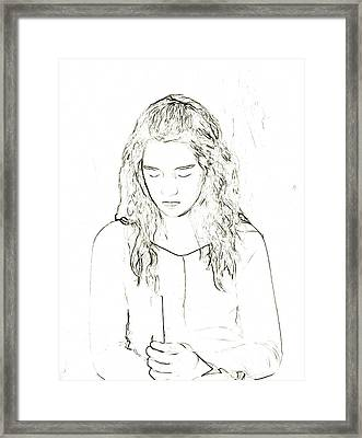 Young Girl With Candle Sketch Framed Print by Randy Steele