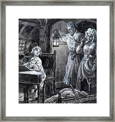 Young Handel Discovered Playing The Harpsichord In The Attic By His Parents Framed Print by CL Doughty