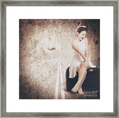 Young Hitchhiking Pin-up Woman On Vintage Suitcase Framed Print by Jorgo Photography - Wall Art Gallery