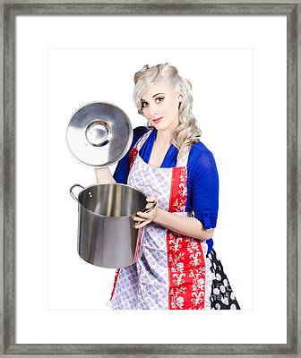 Young Housewife Lifting Lid On A Home Cooking Pot Framed Print