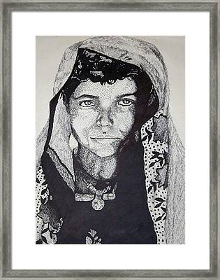 Framed Print featuring the drawing Young Indian Boy by Jean Haynes