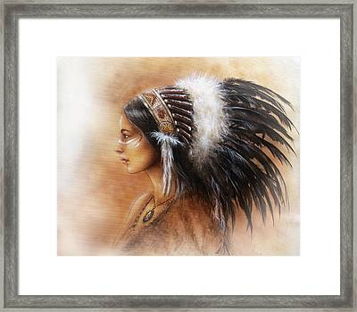 Young Indian Woman Wearing A Big Feather Headdress A Profile Portrait On Structured Abstract Framed Print by Jozef Klopacka