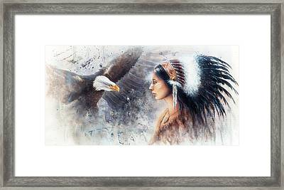 Young Indian Woman Wearing A Gorgeous Feather Headdress. With An Image  Eagle Spirits Framed Print by Jozef Klopacka