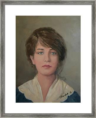 Young Irish Woman On Eliis Island Framed Print