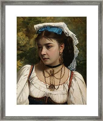 Young Italian Woman Framed Print by Leonardo Gasser