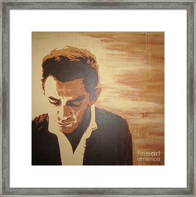 Framed Print featuring the painting Young Johnny Cash by Ashley Price