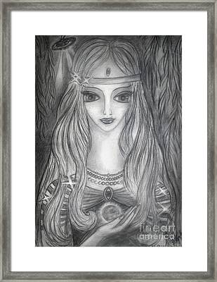Young Lady Alien From Space. And Her Ufo Ship Framed Print by Sofia Metal Queen