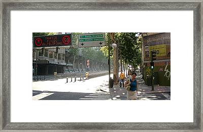 Young Lady And Gent On Rios Rosas Street - Madrid Framed Print by Thomas Bussmann