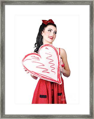 Young Lady Holding Retro Red Heart Card Framed Print by Jorgo Photography - Wall Art Gallery