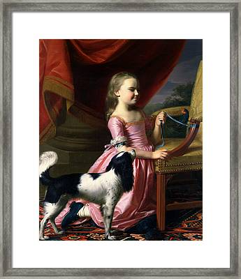 Young Lady With A Bird And A Dog Framed Print