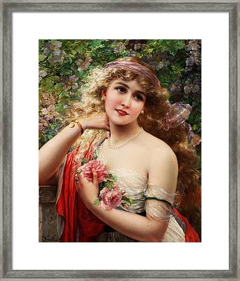 Young Lady With Roses Framed Print by Emile Vernon