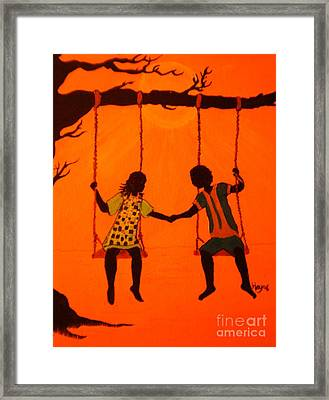 Framed Print featuring the painting Young Love by Barbara Hayes