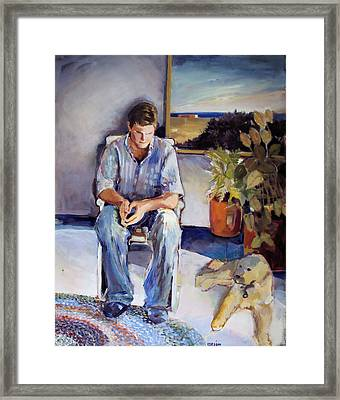 Young Man And His Dog Framed Print