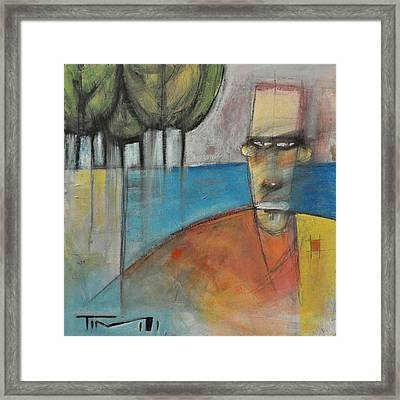 Young Man And The Sea With Trees Framed Print by Tim Nyberg