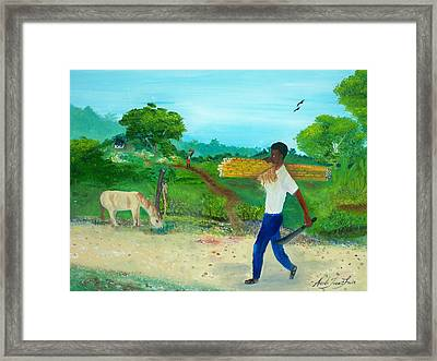Framed Print featuring the painting Young Man Carrying Sugarcane by Nicole Jean-Louis