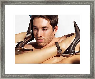 Young Man Face And Woman Legs Framed Print by Oleksiy Maksymenko