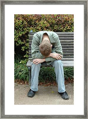 Young Man On Bench Framed Print