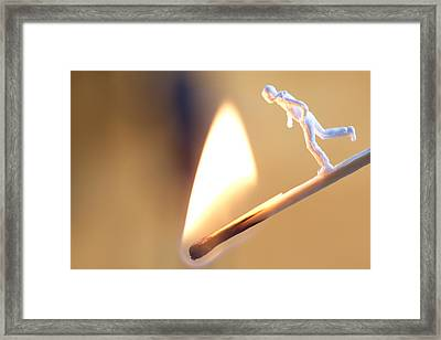 Young Man Running Towards Flame Framed Print