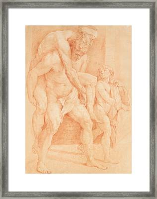 Young Man Saving His Father Framed Print by Raphael