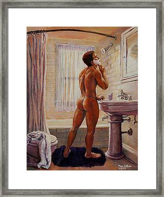 Young Man Shaving Framed Print