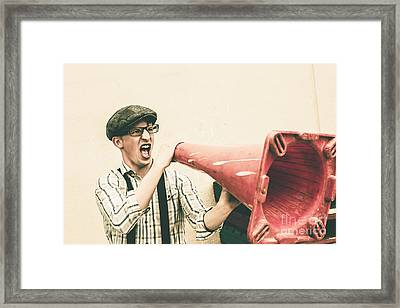 Young Man Shouting With Road Marker Loud Hailer Framed Print by Jorgo Photography - Wall Art Gallery