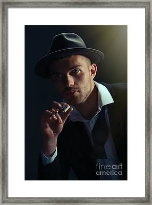Young Man Smoking Framed Print by Amanda Elwell