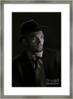 Young Man Wearing Trilby Framed Print by Amanda Elwell