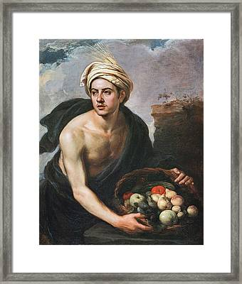 Young Man With A Basket Framed Print