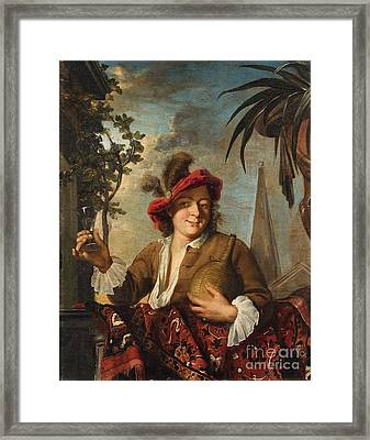 Young Man With A Glass Of Wine Framed Print by Celestial Images