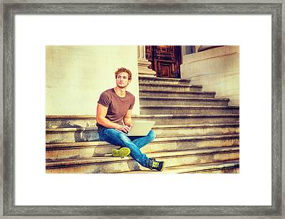 Young Man Working Outside In New York Framed Print