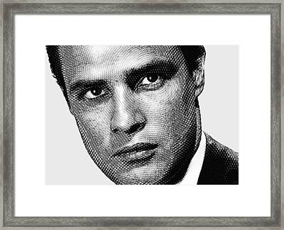 Young Marlon Brando Etching Black Gray Framed Print by Tony Rubino