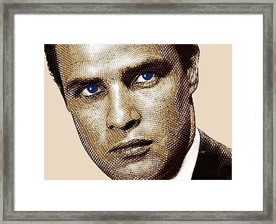 Young Marlon Brando Etching Sepia Gold Framed Print by Tony Rubino