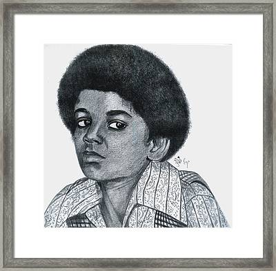 Young Michael Jackson Framed Print by Bobby Dar