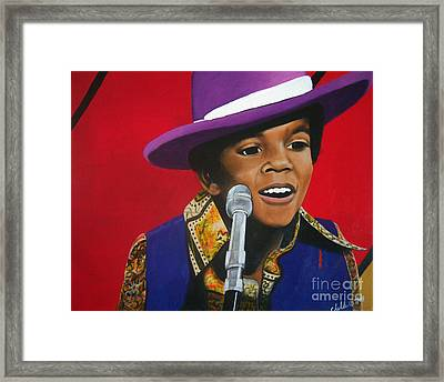 Young Michael Jackson Singing Framed Print